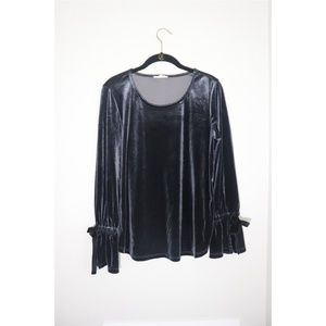 Pleione | Velvet Long Bell Tie Sleeve Top